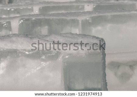 background texture pattern. Ice out of the water. abundant on the surface of the Earth - especially in the polar regions and above the snow track and as a usual form of precipitation and precipitation #1231974913