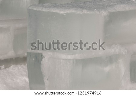 background texture pattern. Ice out of the water. abundant on the surface of the Earth - especially in the polar regions and above the snow track and as a usual form of precipitation and precipitation #1231974916