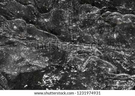 background texture pattern. Ice out of the water. abundant on the surface of the Earth - especially in the polar regions and above the snow track and as a usual form of precipitation and precipitation #1231974931