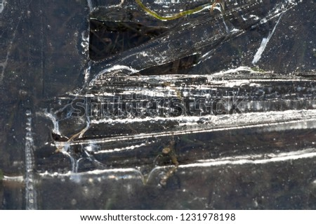 background texture pattern. Ice out of the water. abundant on the surface of the Earth - especially in the polar regions and above the snow track and as a usual form of precipitation and precipitation #1231978198