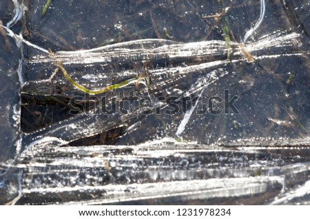 background texture pattern. Ice out of the water. abundant on the surface of the Earth - especially in the polar regions and above the snow track and as a usual form of precipitation and precipitation #1231978234