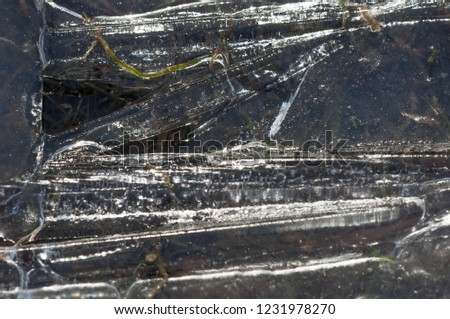 background texture pattern. Ice out of the water. abundant on the surface of the Earth - especially in the polar regions and above the snow track and as a usual form of precipitation and precipitation #1231978270