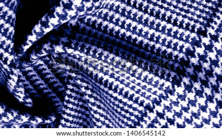 Background texture, pattern. The fabric is thick, warm with a checkered pattern, blue. Stop. You made the right choice by purchasing this photo, your design will be great with this image. #1406545142