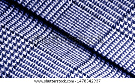 Background texture, pattern. The fabric is thick, warm with a checkered pattern, blue. Stop. You made the right choice by purchasing this photo, your design will be great with this image. #1478542937