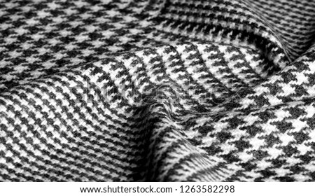 Background texture, pattern. The fabric is thick, warm with a checkered pattern, gray black. This is an unforgettable encounter with my fabric. The best design solutions are waiting for you. #1263582298