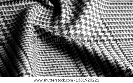 Background texture, pattern. The fabric is thick, warm with a checkered pattern, gray black. This is an unforgettable encounter with my fabric. The best design solutions are waiting for you. #1381920221