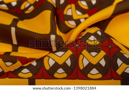 Background texture. silk bright fabric Mosaic geometric shapes Composition with colorful stained glass Grid design Illustration red yellow brown colors #1398021884