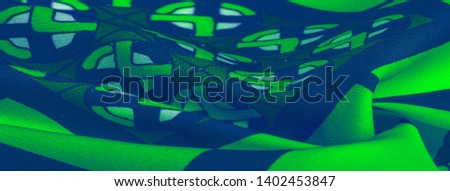 Background texture. silk bright fabric Mosaic geometric shapes Composition with colorful stained glass Grid design Illustration of green blue white olive colors