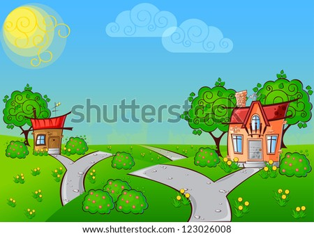 background the path to a cartoon house with the cat on the roof surrounded by trees #123026008