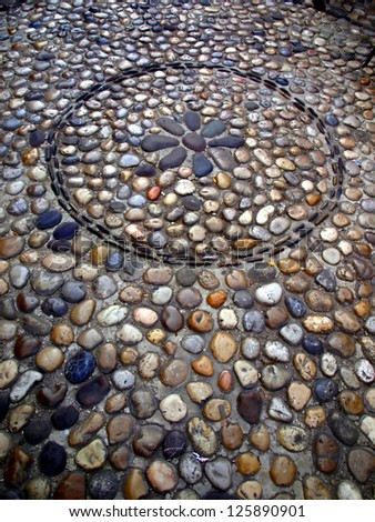 background - tragment street paved with stones in the old Mostar in Bosnia and Hecegowina