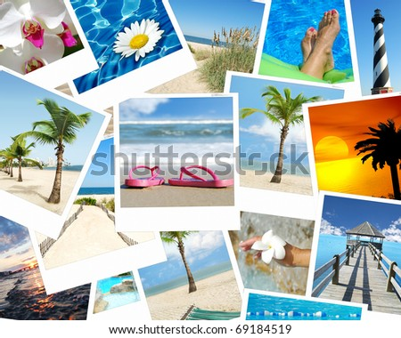 background vacation photo collage tropical