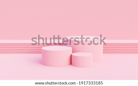 Background vector 3d pink rendering with podium and pedestal pink scene, minimal scene background 3d rendering product pedestal pink pastel scene. Stage 3d for product pedestal in pink platform studio