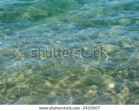 Background view of tropical water, clear blue and green color