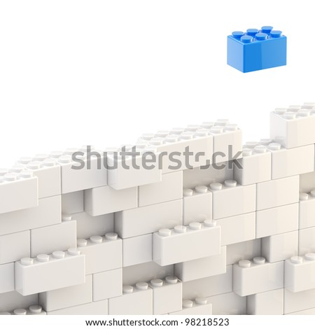Background wall made of toy construction brick blocks