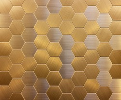 background wall mosaic in the form of honeycombs gold and silver ceramic textured metal