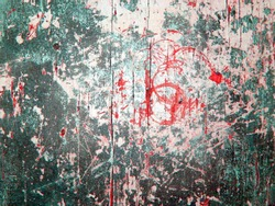Background wallpaper of wooden board planks with a scratched aged grunge texture and cracked silver green white grey paint with a red bleeds bloody wood structure.