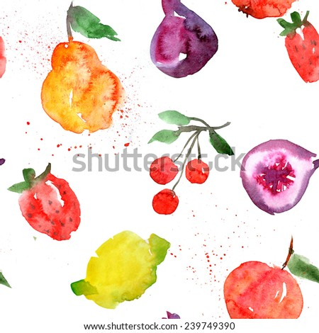background, watercolor, fruit