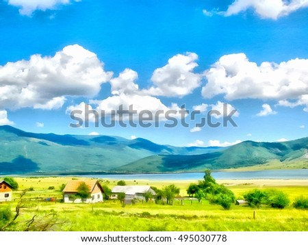 Shutterstock Background watercolor painting of a grassy field, mountains and river, small mountain village, the first houses are visible