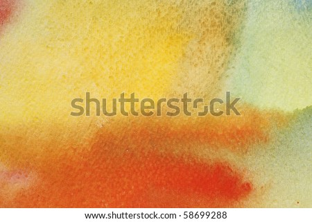 background watercolors painted on the wet in a red orange colors - stock photo