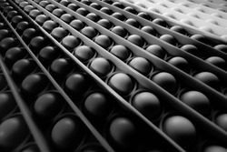 Background white, black, gray, circle pattern, buttons with leading lines. arranged in an oblique row From the bottom right corner up to the top left corner, beautiful.