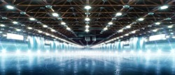 Background. Winter rink in the spotlights. Empty winter background and empty ice rink with ice