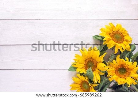 Background with a bouquet of yellow sunflowers on  white painted wooden planks. Space for text. Top view. #685989262