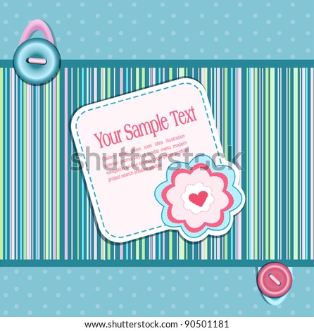 background, with a button, card, heart and flower