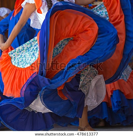 Background with a Costa Rican dancer's dress while dancing. #478613377