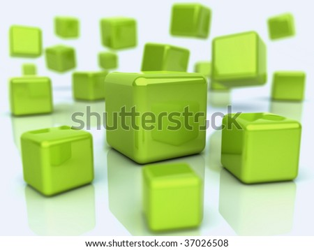 Background with abstract green cubes (depth of field)