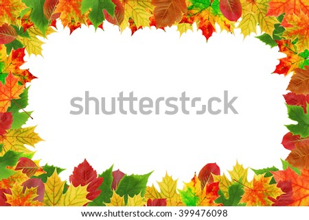 Background with autumn colored leaves and empty place in the center for your text. Frame of autumn leaves.