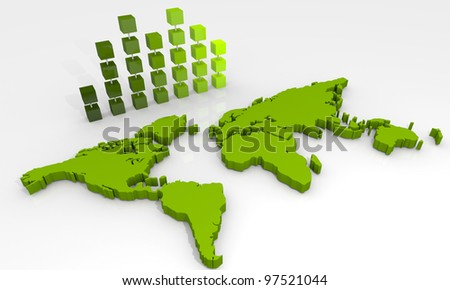 Background with bar chart and world map