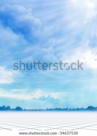 Background with beautiful blue sky and village on a horizon