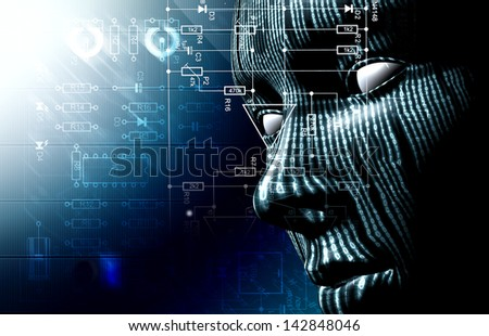 Background with binary code and face. Background of technology and hacker