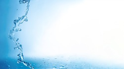 background with blue splash water with copy space