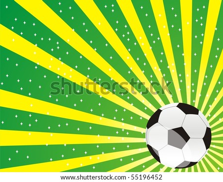 Background with Brazil Flag colors and Soccer Ball - stock photo