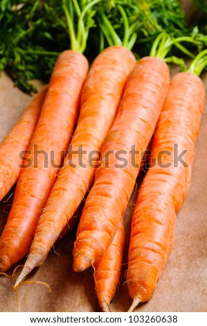 Background with bunch of natural organic carrots