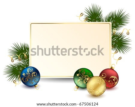 Background with card and Christmas balls, illustration