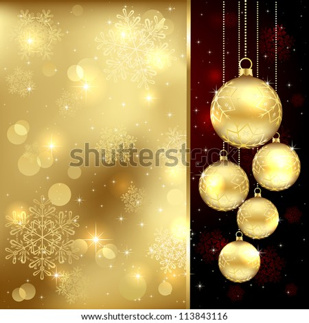 Background with Christmas baubles and snowflakes, illustration.
