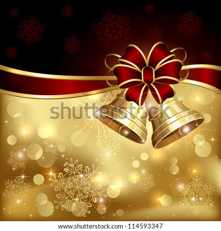 Background with Christmas bells, bow and snowflakes, illustration.