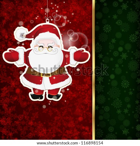 Background with Christmas decoration and snowflakes.