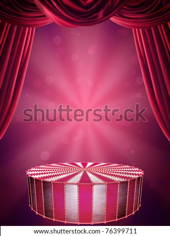 Background with circus stage and spotlight