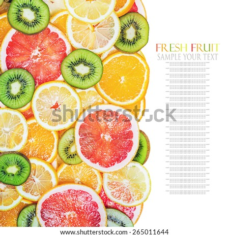 background with citrus-fruit of Fresh fruit slices. Text for example, and can be easily removed - Shutterstock ID 265011644