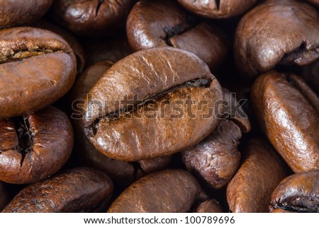 background with coffee beans macro
