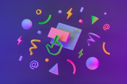 Background with colored geometric 3d shapes