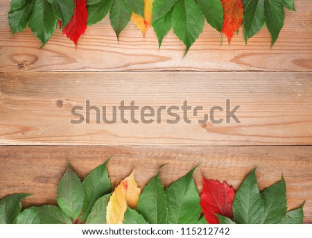 background with colored leaves green, red, yellow on old wooden board