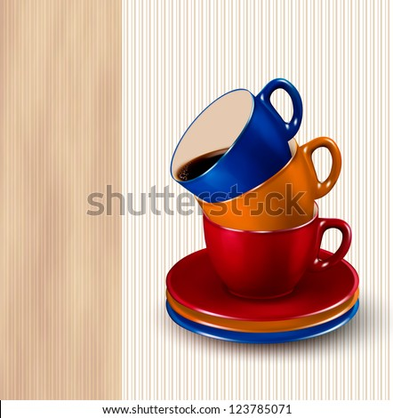 Background with colorful cups of coffee. Coffee design template. Raster version of vector.