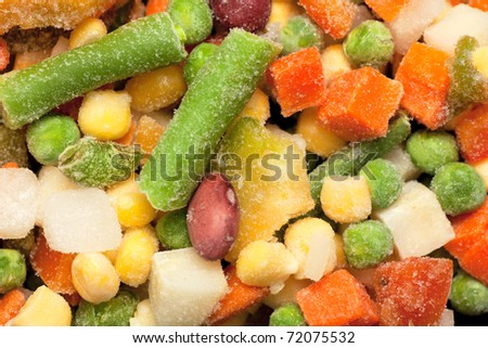Background with colorful frozen vegetables