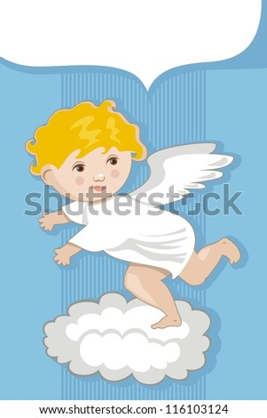 Background with cute angel and space for custom message