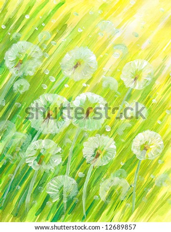 Background with dandelions watercolor painted