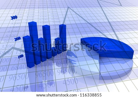 Background with diagram and chart, business image with blue tones